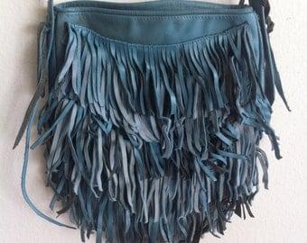 Fringe leather blu handmade shoulder bag.