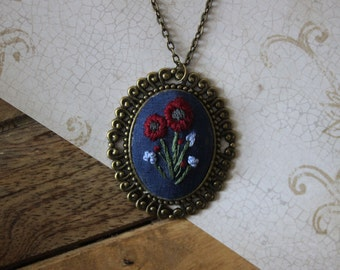 Large Poppy Fields Hand Embroidered Necklace