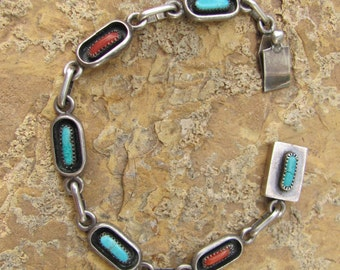 Vintage Delicate Native American Sterling Silver and Stone Bracelet