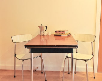 Retro Chrome and Formica Extending Kitchen Table with Two Chairs - by Tavo of Belgium (Shipping is Extra)