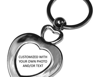 Key Chain - Double Heart - Stainless Steel - Customized with your own photo