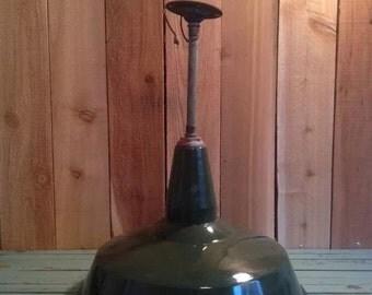 Vintage Green Porcelain Industrial Gas Station Barn Light