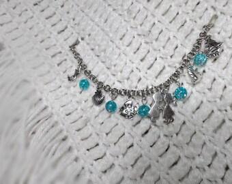Mermaid Charm Bracelet, Under the Sea Charm Bracelet, Gift for Girls, Birthday Gift, Mermaid Jewelry, Fairytale Jewelry