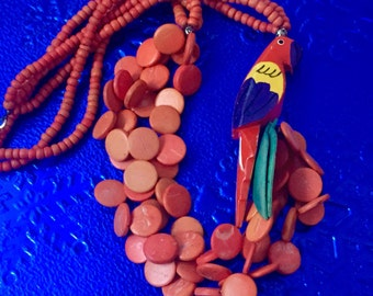Vintage French Parrot Necklace 1970's Statement Couture Handpainted Retro