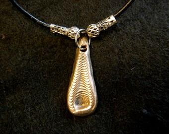 Tear Drop Ancient Bronze Cuttle Fish Cast Pendant