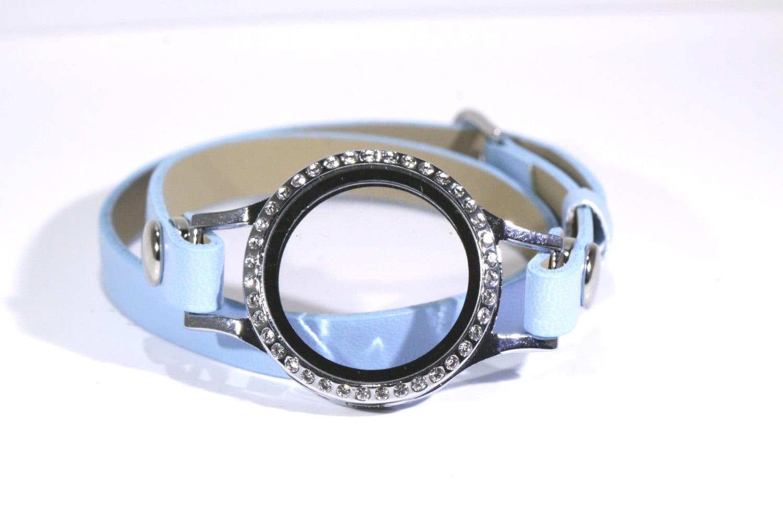 blue floating locket bracelet leather bands easy diy jewelry