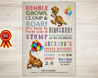 Dinosaur Birthday Invitation, Dinosaur 4th Birthday Dinosaur Printable Invitation Dinosaur Invite Dino-mite Birthday Party