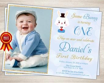 Bunny Birthday Invitation Some Bunny Easter 1st Birthday First Birthday Boy Invite Egg Hunt Printable Bunny Birthday Party Invitation
