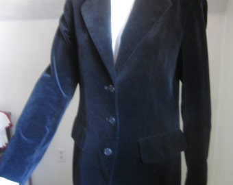 "Vintage black Blazer ""f.a.i."" made in Japan 100% cotton feels like velvet"
