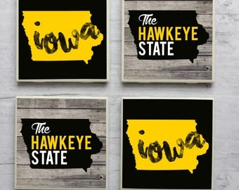 Iowa / Iowa Coasters / Iowa Hawkeyes / University of Iowa / Hawkeye / Coasters / Iowa Home / Iowa Love / Iowa Gift / Iowa State / Iowa City