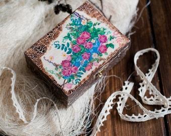 Box wooden decoupage  storage jewelery , gifts  antique boxes Art box