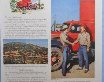 "1950 International Truck Ad.  Vintage International Truck ad. Wickenburg, AZ.  Saturday Evening Post Oct 22, 1949. Full color.  10""x14""."