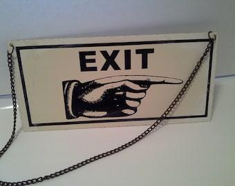 Metal exit sign