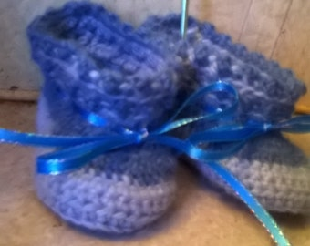 blue alpaca baby booties