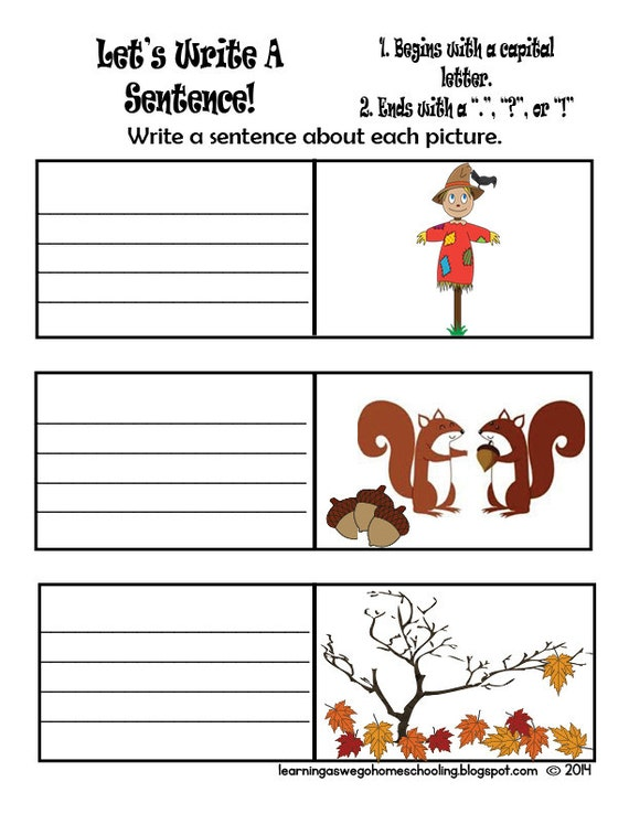 Premise Indicator Words: Let's Write A Sentence Writing Prompt Worksheet Fall