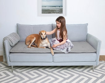Sofa Topper in Grey Wool - Stylish Waterproof Sofa Cover for Pets, Children & Beautiful Homes
