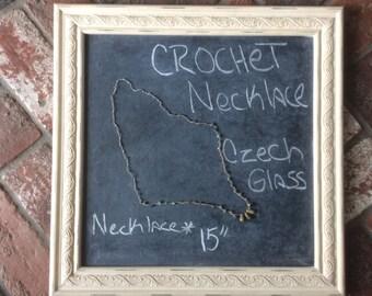 Crochet Czech Glass Necklace