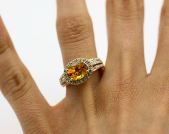 Yellow Citrine Ring- Gold  Stacking Ring - Gold Plated Silver Cushion Cut Ring
