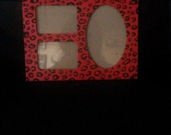 Hand painted leopard print photo frame