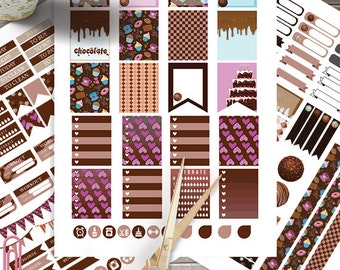 Chocolate Printable, planner stickers for use with Erin Condren LifePlanner,Monthly-Weekly Sticker Kit Instant Download, Filofax, Plum Paper
