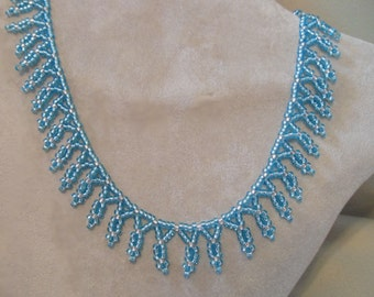 Silver Lined Aqua seed bead necklace