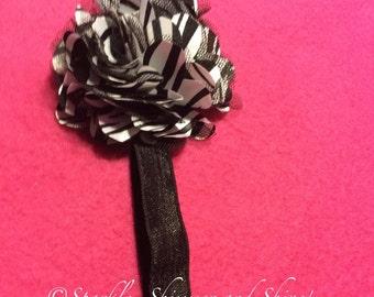 Zebra Print Flower Elastic Headband