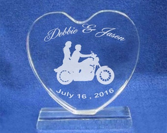 Motorcycle Biker Wedding Cake Topper Personalized for FREE