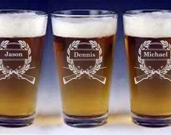 Hunter Wedding Glasses, Groomsman Glasses, Pint Beer Personalized