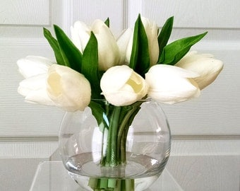 Christmas Gift-Flowers Centerpiece-Faux Floral Arrangement- Arrangement-Silk faux arrangement -Fake flowers-White Tulips