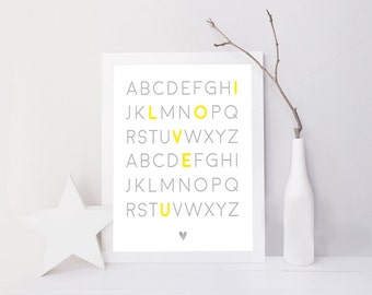 Framed Alphabet Print ( I Love you )