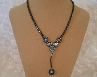 Handcrafted Hematite Necklace with Glass Beads