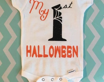 Halloween Onesie-First halloween onesie-my 1st halloween-my first halloween-spider onesie-halloween costume-newborn and child halloween