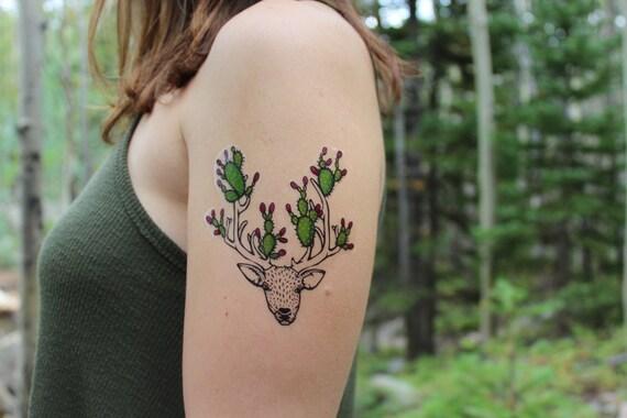 Cactus Horns Deer Temporary Tattoo, Prickly Pear Cactus Berries, Nature Tattoo