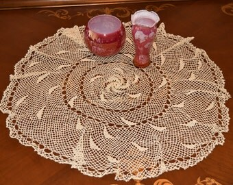 Handcrafted round lace Tablecloth 70cm, free shipping