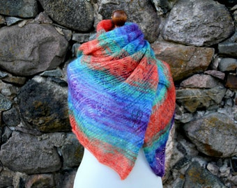 Knit Rainbow Shawl, Kid Mohair Shawl, Knit Lace Shawl, Rainbow Scarf, Knit Spring Shawl, Shoulder Scarf, Knitted Silk Shawl  / - for Her