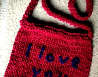 Maroon and blue clutch bag I LOVE YOU Valentine