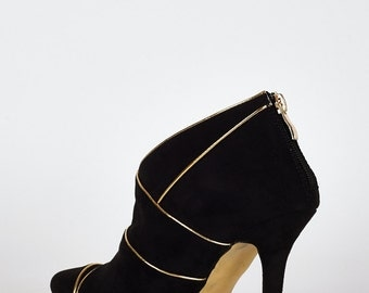 Womens black suede heel ankle boots