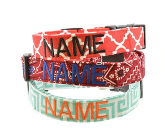 Add a Personalized Monogram Name ONLY to Any Dog Collar in Our Store - You Choose Color - Embroidery - Collar MUST be Purchased Seperately