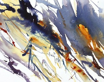 Expressive Abstract Landscape Watercolour Art. Tree Lines