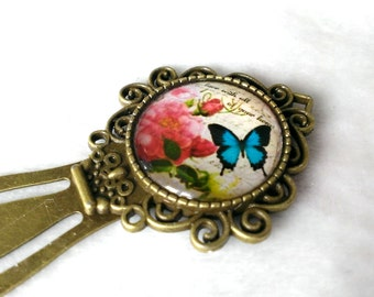 vintage style blue butterfly & flowers - floral bookmark