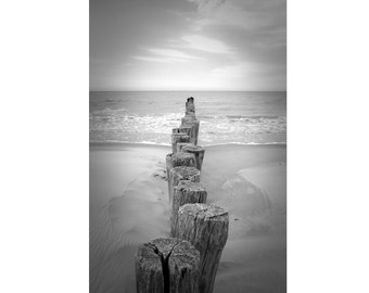 Sea - Coast Photo - Beach Photo - Black and White - Vertical - Digital Photo - Digital Download - Instant Download - Beach House Decor