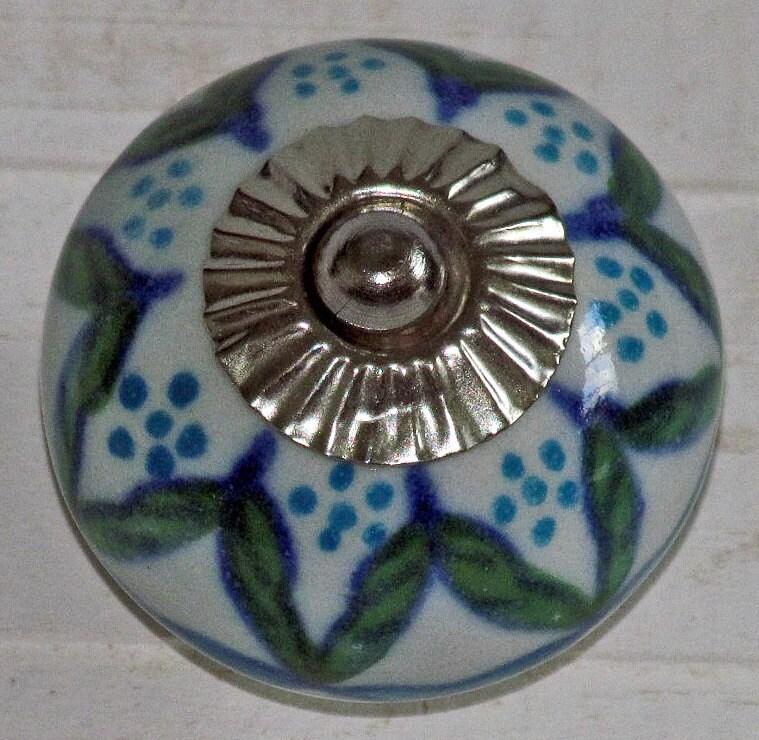 Set of 6 decorative ceramic knobs turquoise flowers ceramic for Turquoise door knobs
