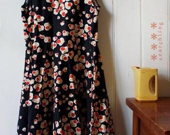 1980's Vintage Japanese floral wraparound dress - Medium