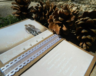 Handmade Brown wedding invitation wiyh your picture