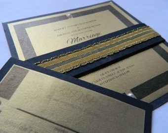 Handmade Gold/Black wedding invitation