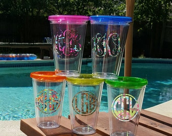 16 oz Tumbler, Customized Tumbler, Personalized Beverage cup, Monogrammed tumbler, Insulated Tumber, Cup w/ name, tumbler with straw and lid