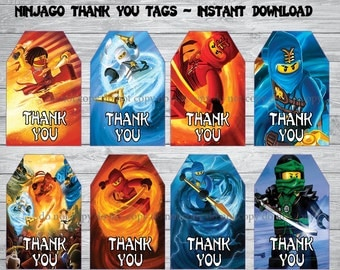 Instant DL Ninjago thank you tags- Ninjago party, Ninjago invitation,Printable Tags