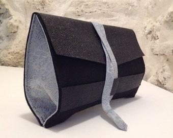 Felt & leather clutch