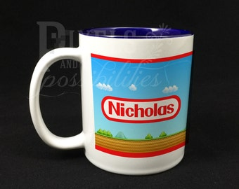Two-Toned Navy Blue Ceramic Mug Personalized 11 oz. (Video Game Design - Add Your Name)