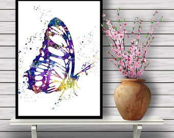 Butterfly, watercolor art, animal painting, home decor, watercolor painting, animal art, wall art, for children gift  Instant Download